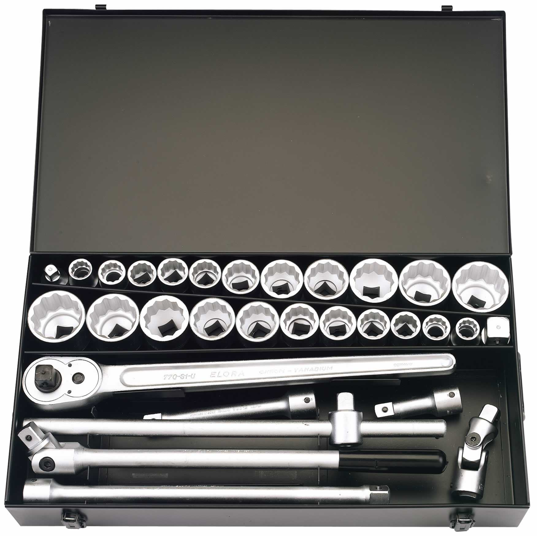 "31 PIECE 3/4"" SQUARE DRIVE ELORA METRIC & IMPERIAL SOCKET SET"