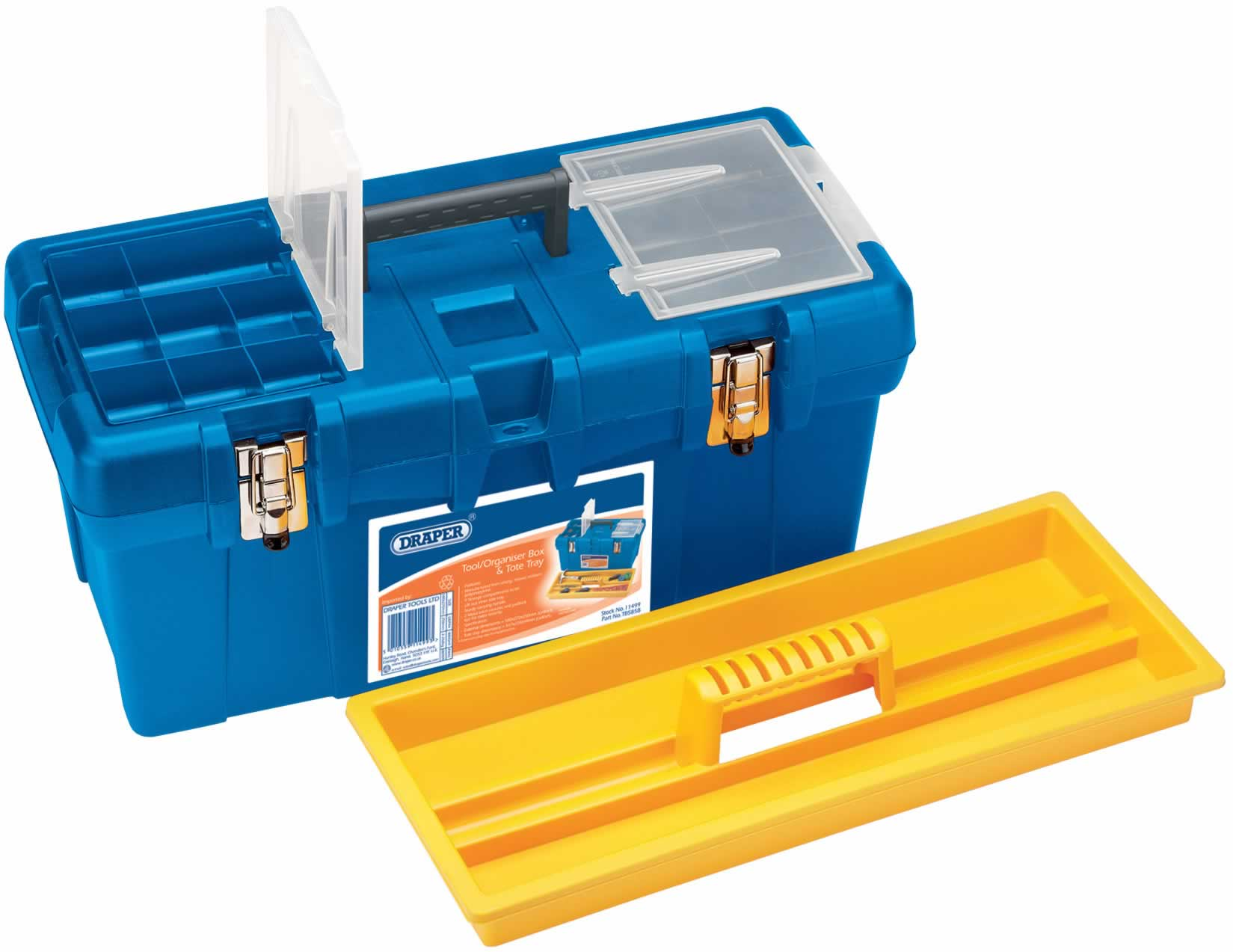 TOOL/ORGANISER BOX WITH TOTE TRAY - 575 x 270 x 250MM