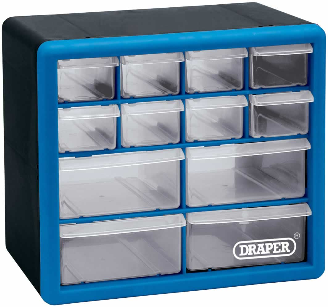 12 DRAWER STORAGE CABINET/ORGANISER - 260 x 160 x 230MM