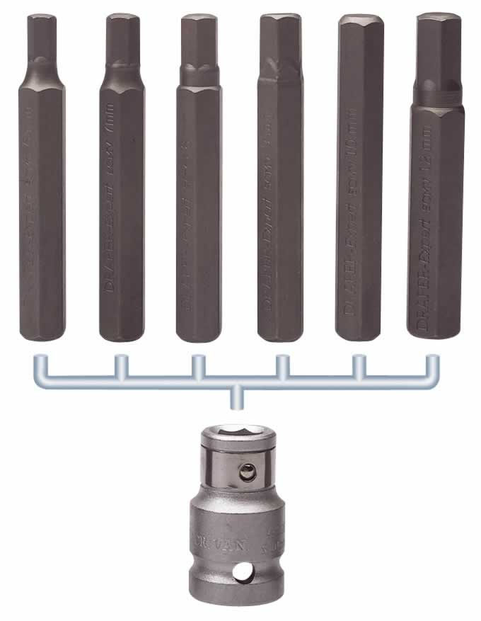 "EXPERT 6MM - 12MM 7 PIECE HEXAGON BIT SET AND HOLDER 1/2"" SQUARE DRIVE"