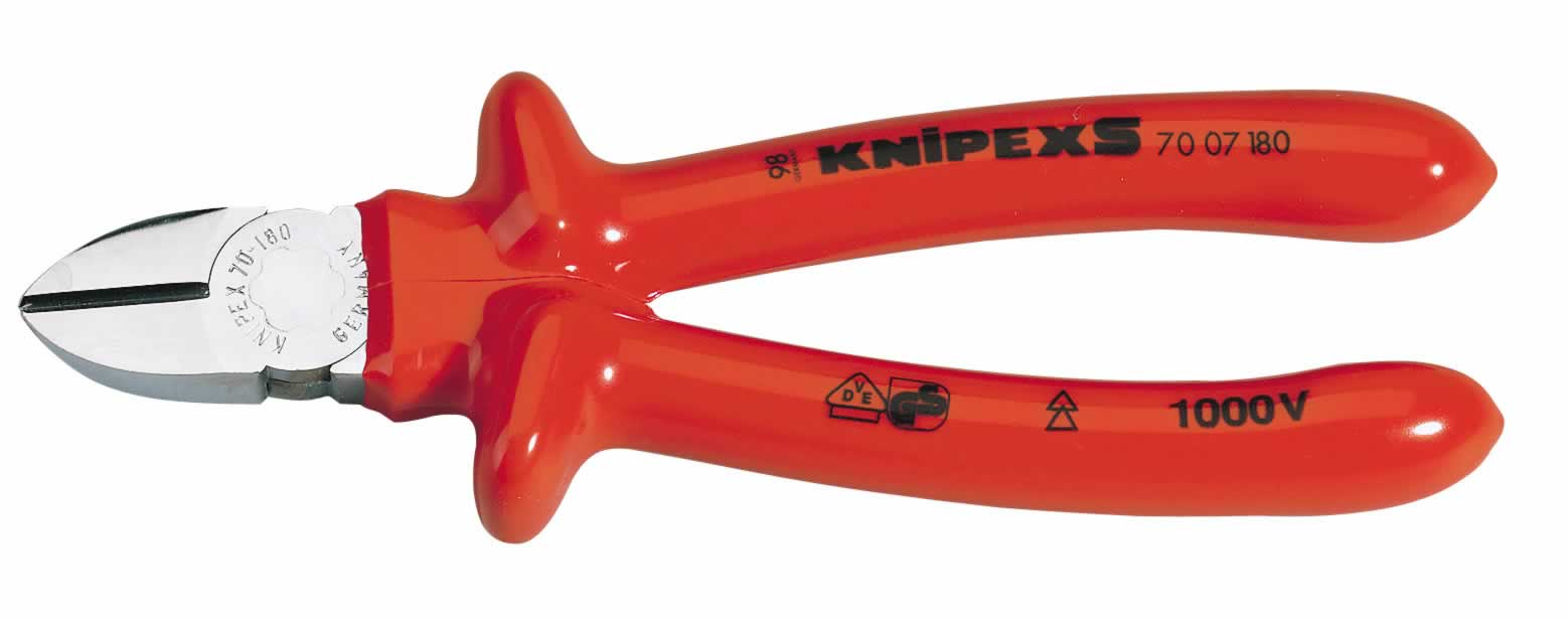EXPERT KNIPEX180MM FULLY INSULATED S RANGE DIAGONAL SIDE CUTTER