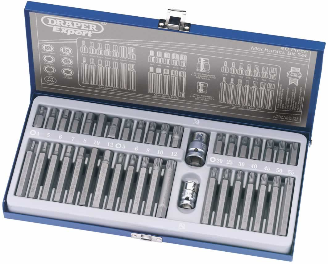 EXPERT 40 PIECE TX STAR HEXAGON  XZN MECHANICS BIT SET