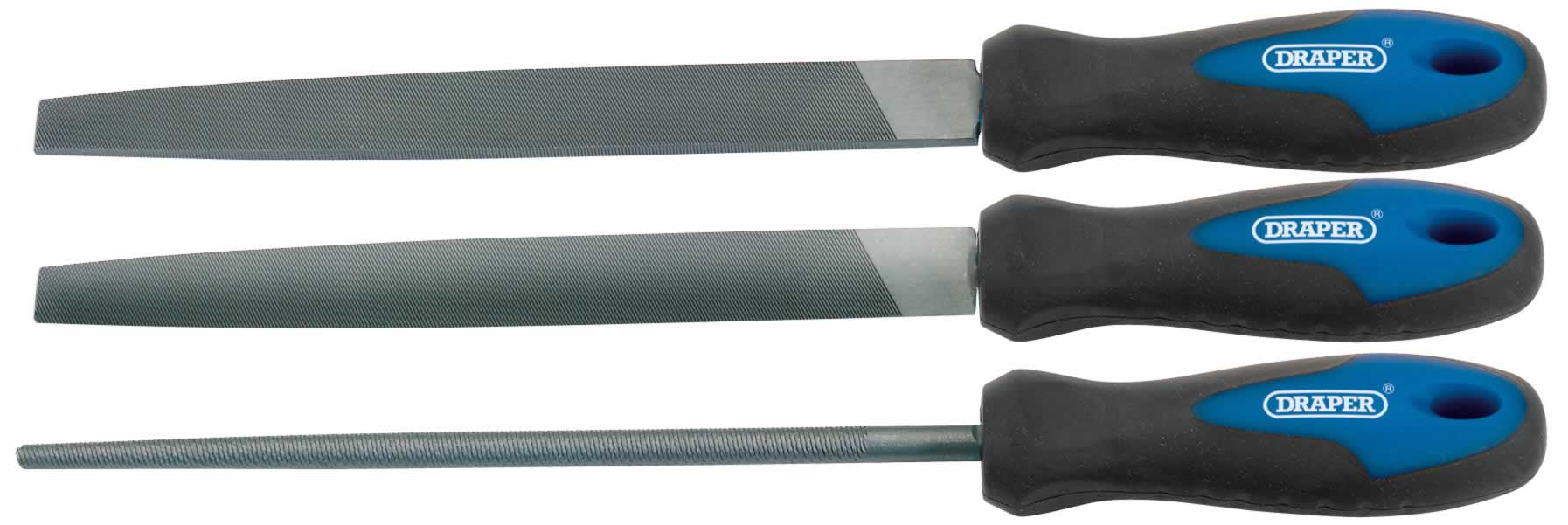 3 PIECE 200mm SOFT GRIP ENGINEERS FILE SET