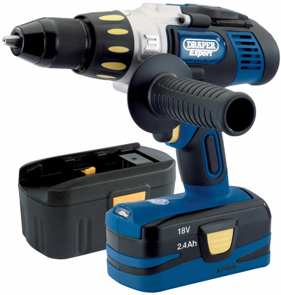 EXPERT 18V CORDLESS COMBI 3 SPEED HAMMER DRILL WITH ONE Li-ION BATTERY AND ONE NI-CD BATTERY