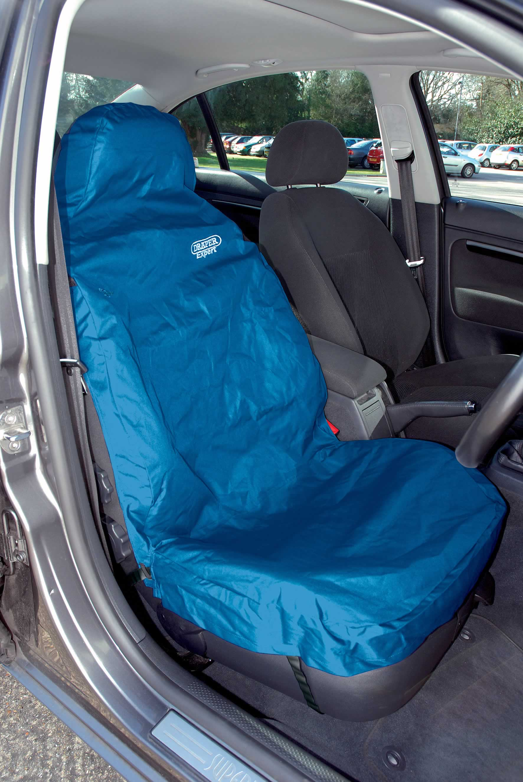 EXPERT SIDE AIRBAG COMPATIBLE FRONT SEAT COVER - BLUE