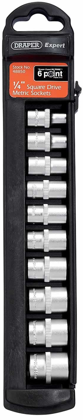 "EXPERT 10 PIECE SET OF 1/4"" 6 POINT DRAPER EXPERT HI-TORQ METRIC SOCKETS"