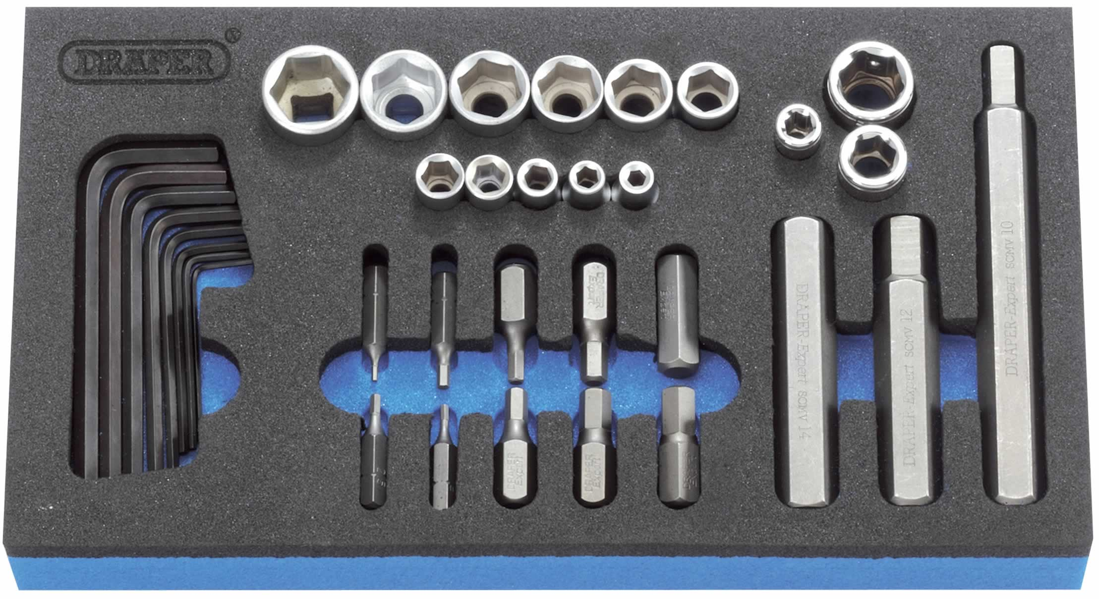 "EXPERT 35 PIECE 1/4, 3/8, 1/2"" Sq. Dr. METRIC HEXAGON SOCKET, BIT AND KEY SET IN EVA FOAM INSERT TRAY"