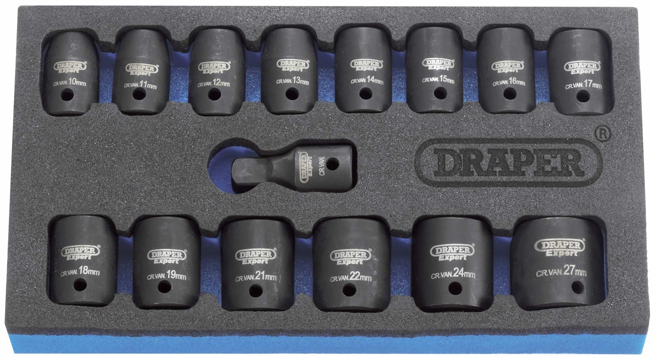 "EXPERT 15 PIECE 1/2"" Sq. Dr. SET OF DRAPER EXPERT HI-TORQ METRIC IMPACT SOCKETS IN EVA FOAM INSERT TRAY"