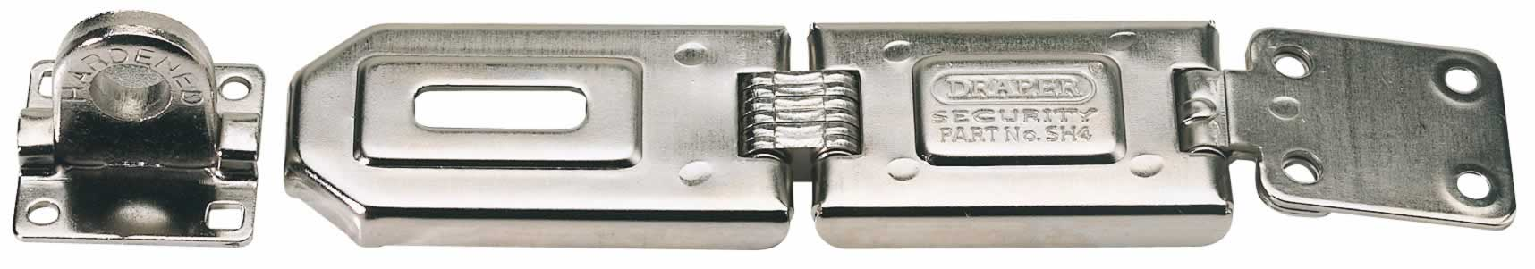 160MM HEAVY DUTY SINGLE HINGE STEEL HASP AND STAPLE WITH FIXINGS   (AHA)n