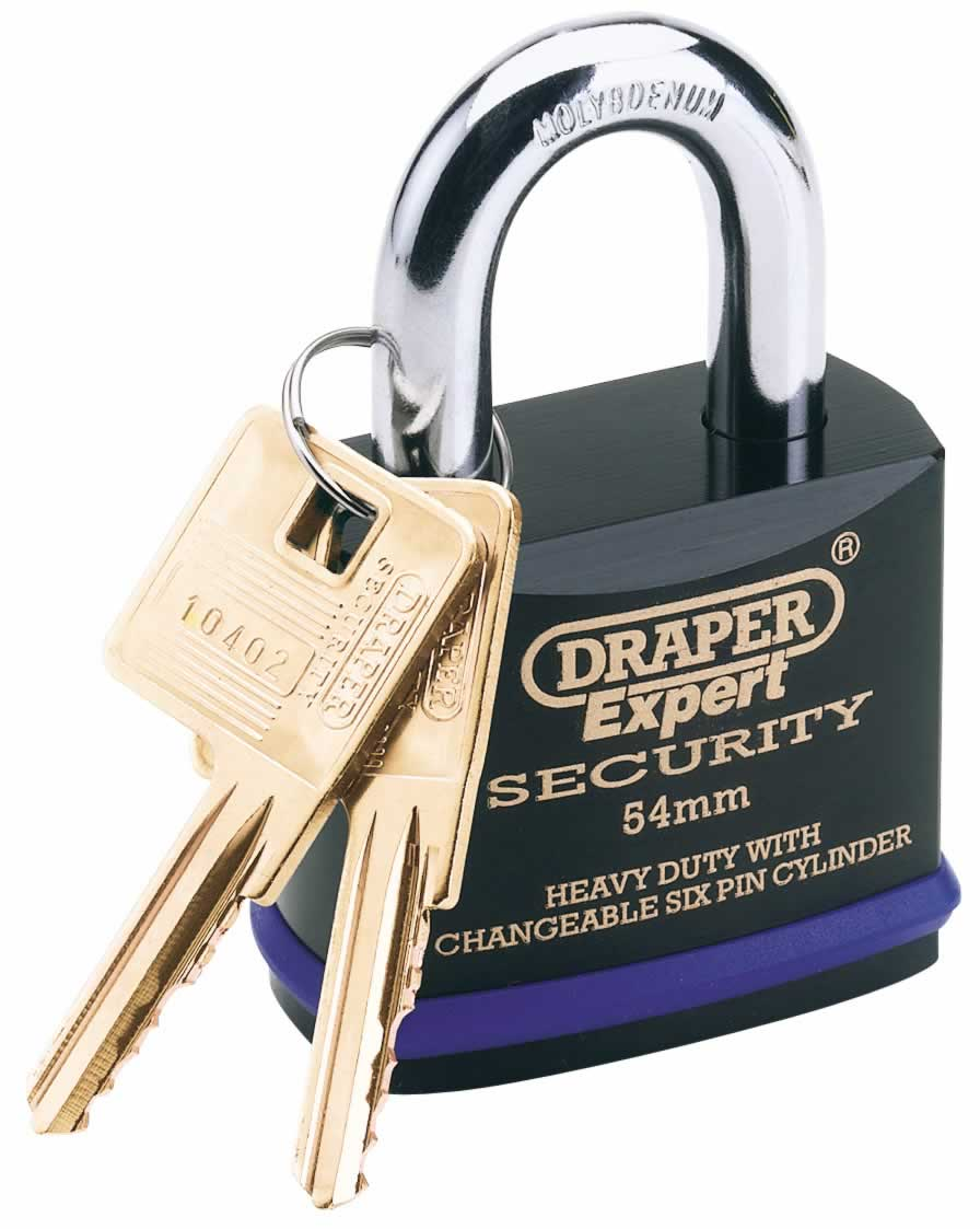 EXPERT 70MM HEAVY DUTY ELECTRIC PLATED STAINLESS STEEL PADLOCK & 2 KEYS WITH SUPER TOUGH MOLYBDENUM STEEL SHACKLE & REPLACEABLE SIX PIN CYLINDER