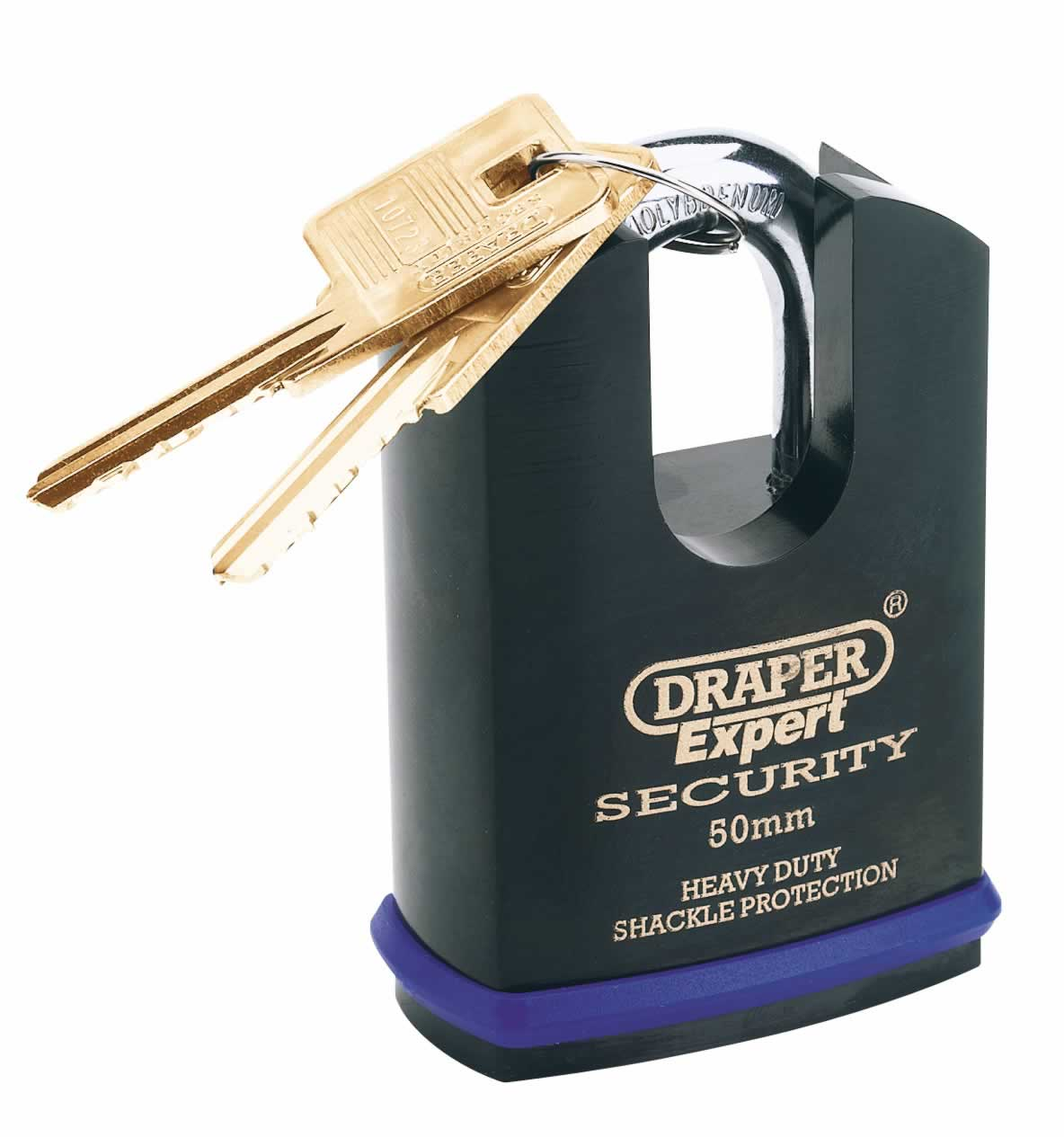 EXPERT 50MM HEAVY DUTY ELECTRIC PLATED STAINLESS STEEL PADLOCK & 2 KEYS WITH SUPER TOUGH MOLYBDENUM STEEL SHROUDED SHACKLE & REPLACEABLE SIX PIN CYLINDER