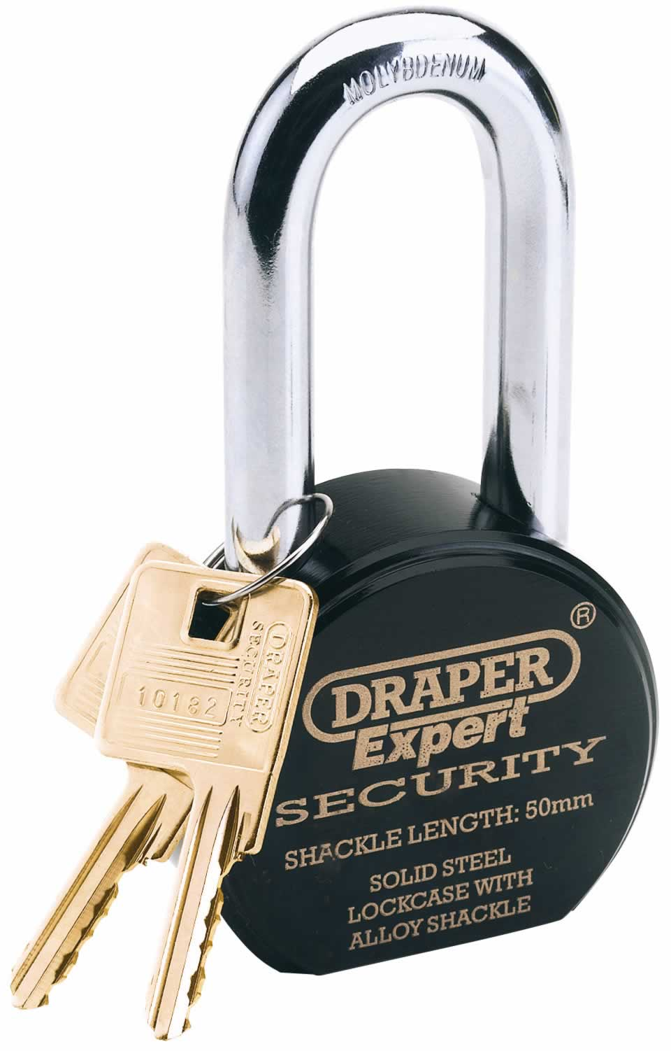 EXPERT 63MM HEAVY DUTY ELECTRIC PLATED STAINLESS STEEL PADLOCK & 2 KEYS WITH SUPER TOUGH MOLYBDENUM STEEL 50MM LONG SHACKLE & REPLACEABLE SIX PIN CYLINDER