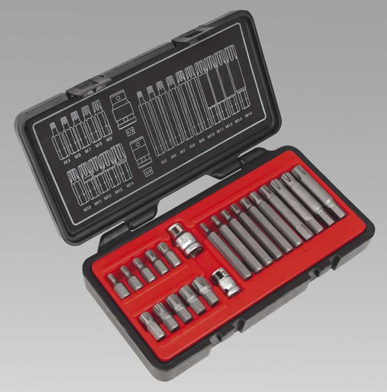 "Ribe Bit Set 22pc 3/8"" & 1/2""Sq Drive"