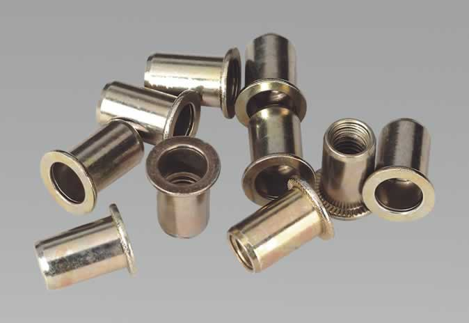 Rivet Nut Flat Head Aluminium M8 x 1.25mm (1.0-4.0mm Cap) Pack of 10