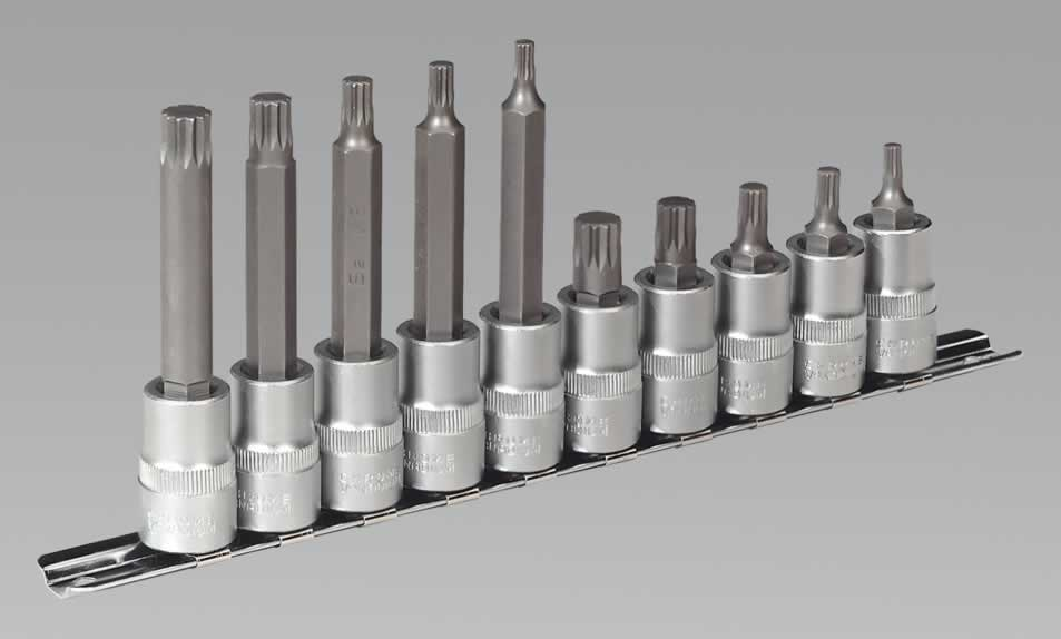 "Spline Socket Bit Set 10pc 3/8""Sq Drive"