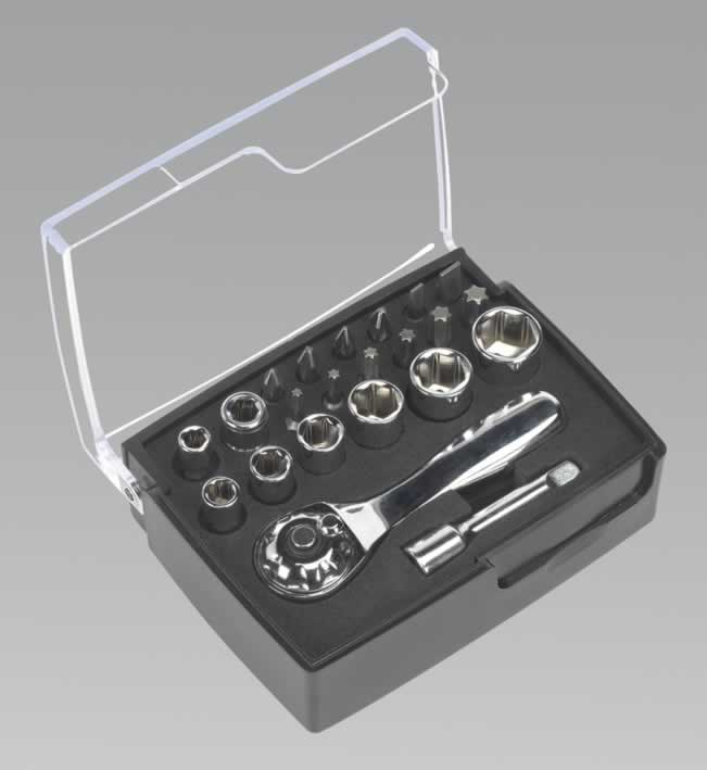 "Socket & Bit Ratchet Wrench Set 1/4""Sq Drive 22pc"