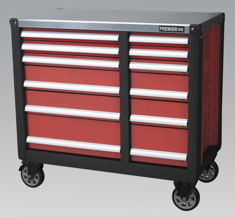 Mobile Workstation 12 Drawer with Ball Bearing Runners