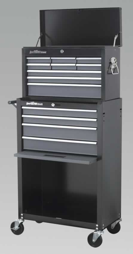 Topchest & Rollcab Combination 13 Drawer with Ball Bearing Runners - Black/Grey