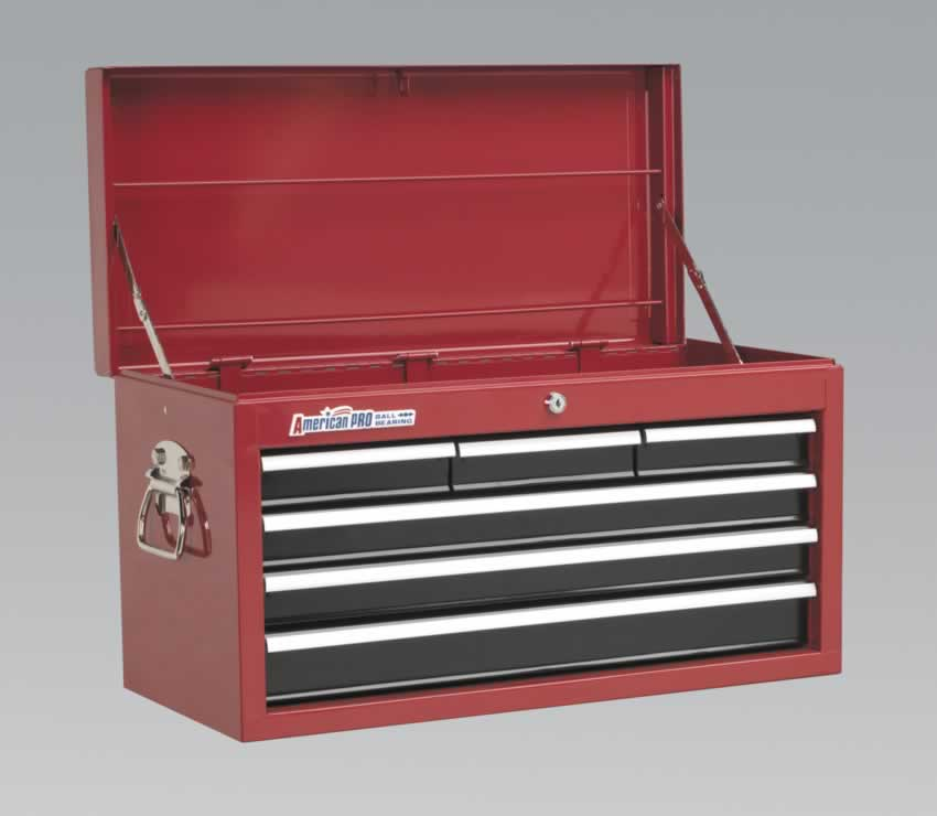 Topchest 6 Drawer with Ball Bearing Runners - Red/Black