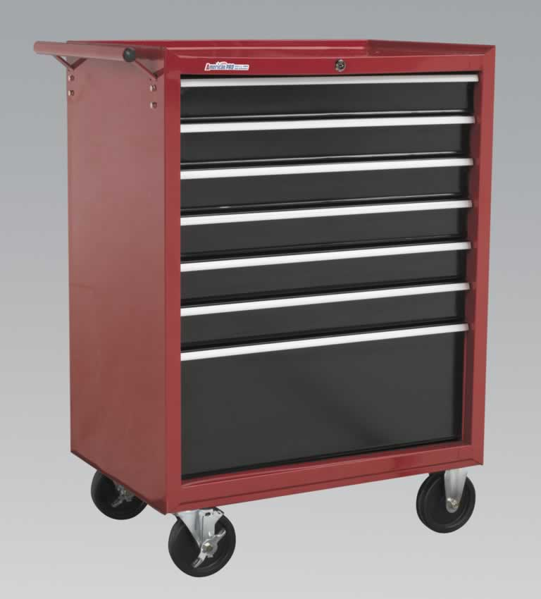 Rollcab 7 Drawer with Ball Bearing Runners - Red/Black