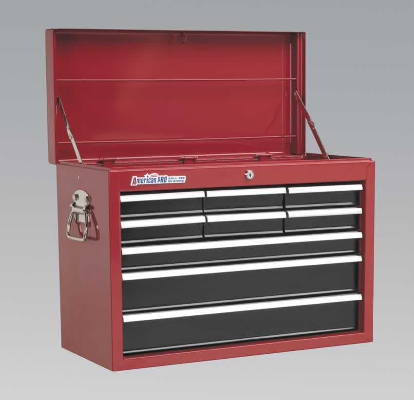 Topchest 9 Drawer with Ball Bearing Runners - Red/Black