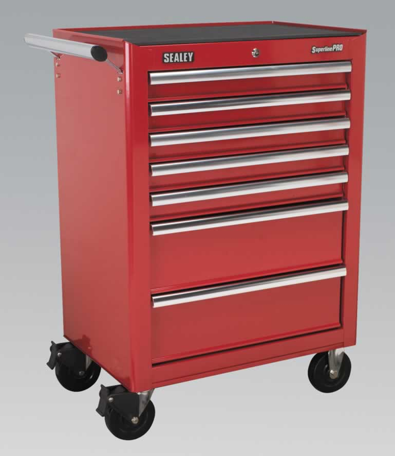 Rollcab 7 Drawer with Ball Bearing Runners - Red