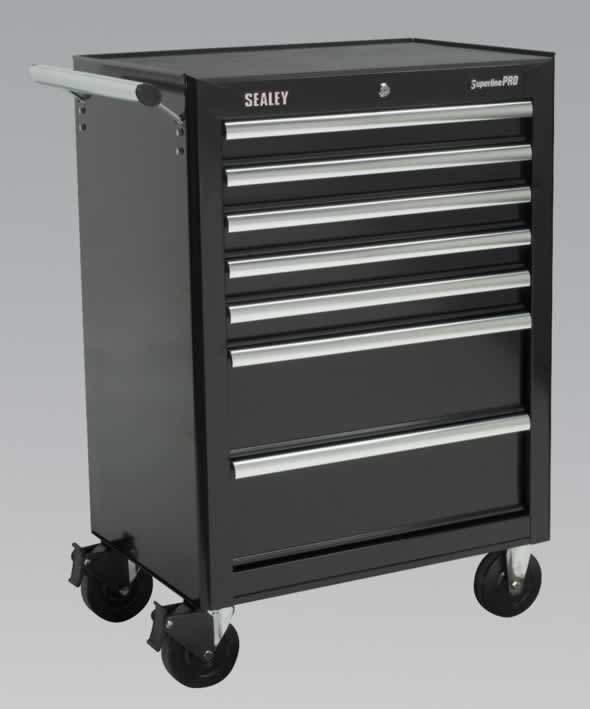 Rollcab 7 Drawer with Ball Bearing Runners - Black