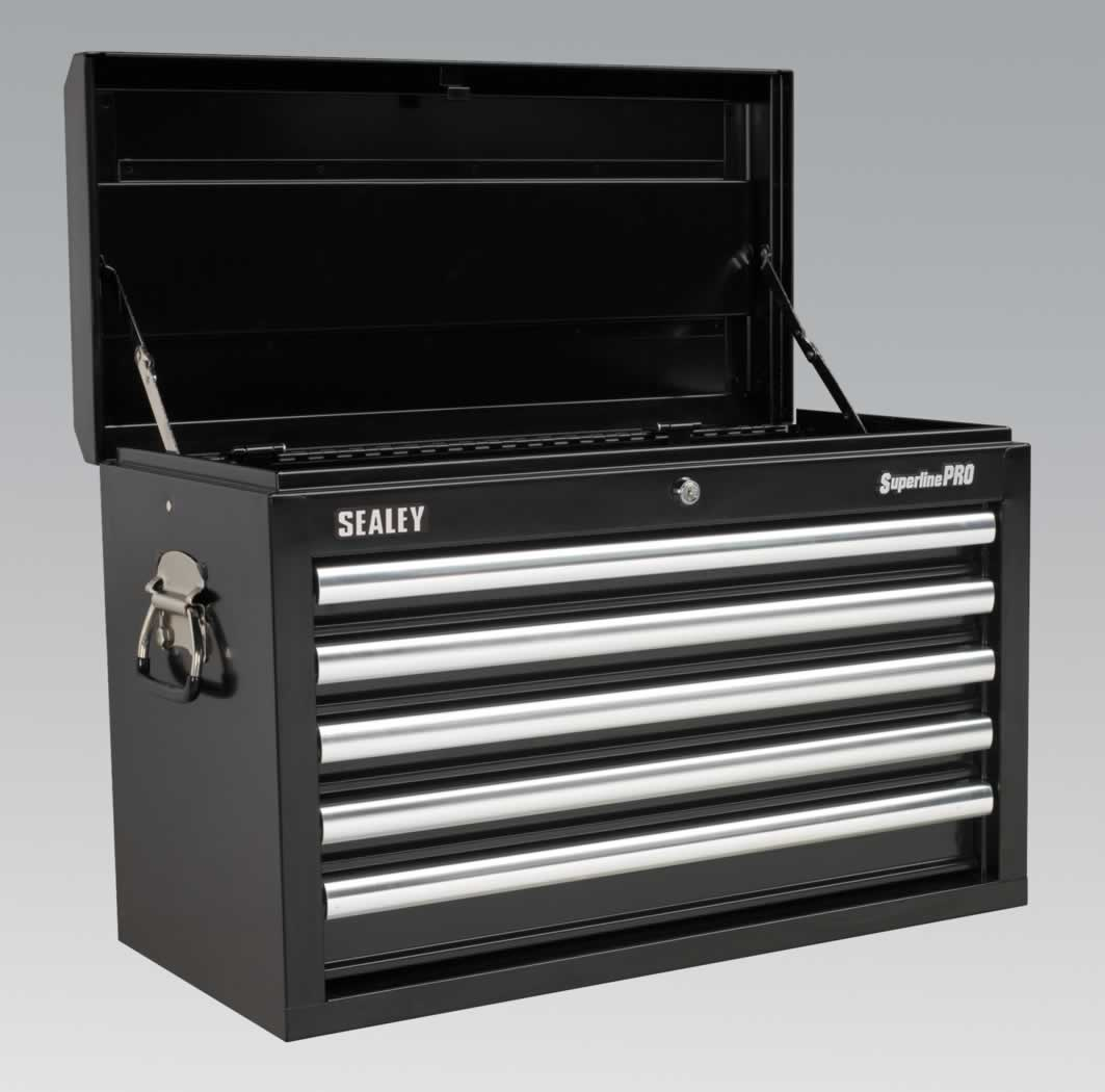 Topchest 5 Drawer with Ball Bearing Runners - Black