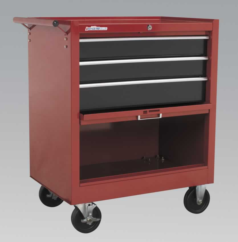 Rollcab 3 Drawer with Ball Bearing Runners Drop Front - Red/Black