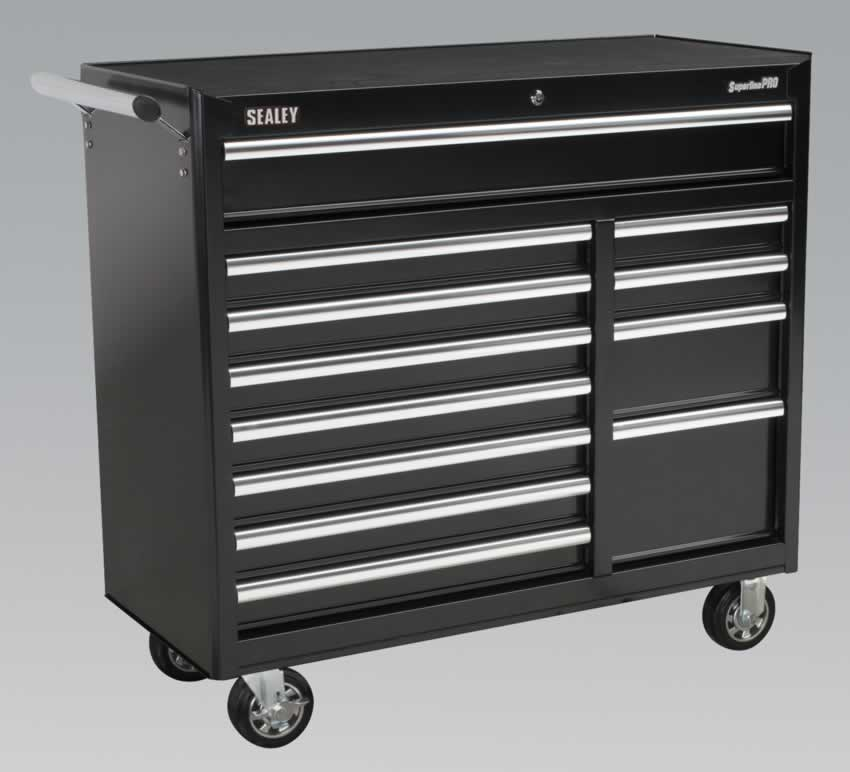 Rollcab 12 Drawer with Ball Bearing Runners Heavy-Duty - Black