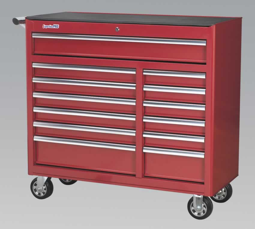 Rollcab 13 Drawer with Ball Bearing Runners Heavy-Duty - Red