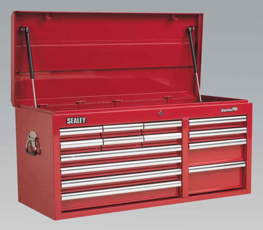 Topchest 14 Drawer with Ball Bearing Runners Heavy-Duty - Red