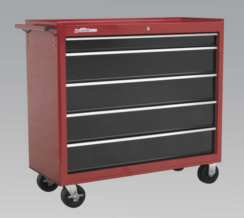 Rollcab 5 Drawer with Ball Bearing Runners - Red/Black