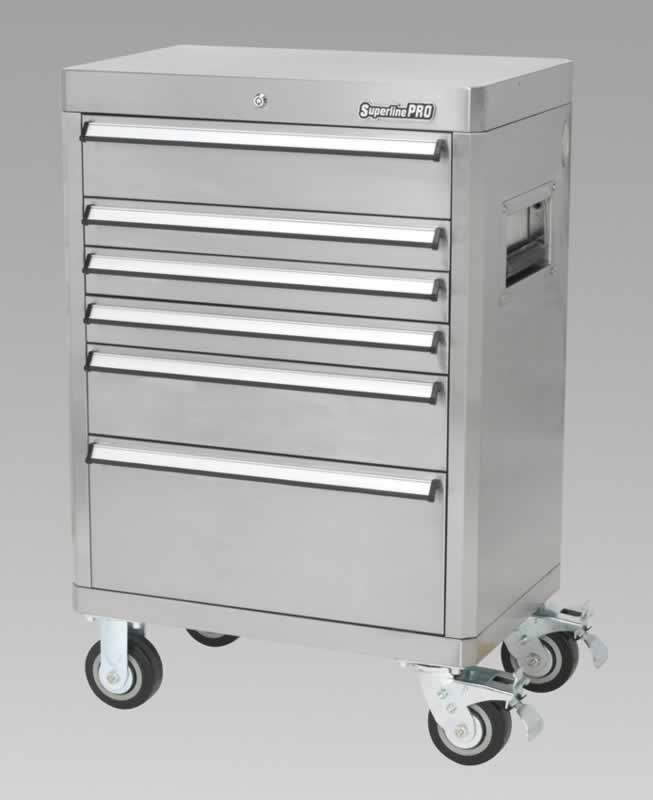 Rollcab 6 Drawer with Ball Bearing Runners Stainless Steel