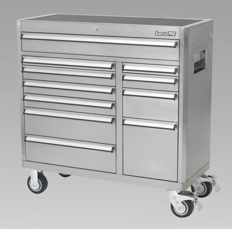 Rollcab 11 Drawer with Ball Bearing Runners Stainless Steel