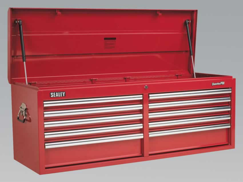 Topchest 10 Drawer with Ball Bearing Runners Heavy-Duty - Red