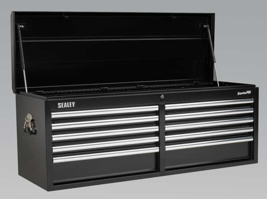 Topchest 10 Drawer with Ball Bearing Runners Heavy-Duty - Black