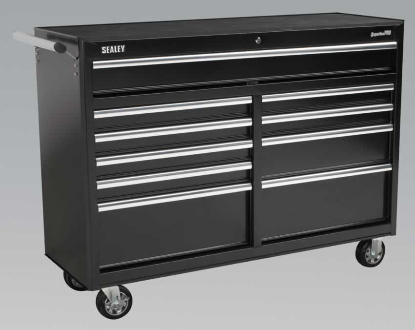 Rollcab 10 Drawer with Ball Bearing Runners Heavy-Duty - Black