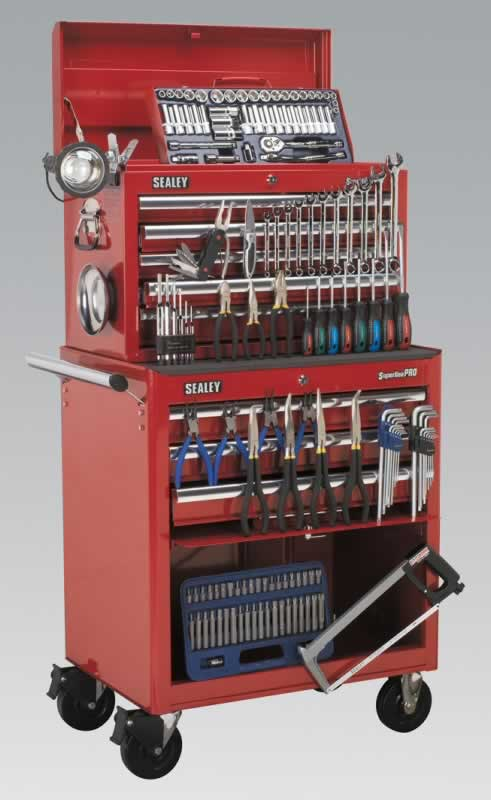 8 Drawer Toolchest Combination - Ball Bearing Runners - Red with FREE Tools