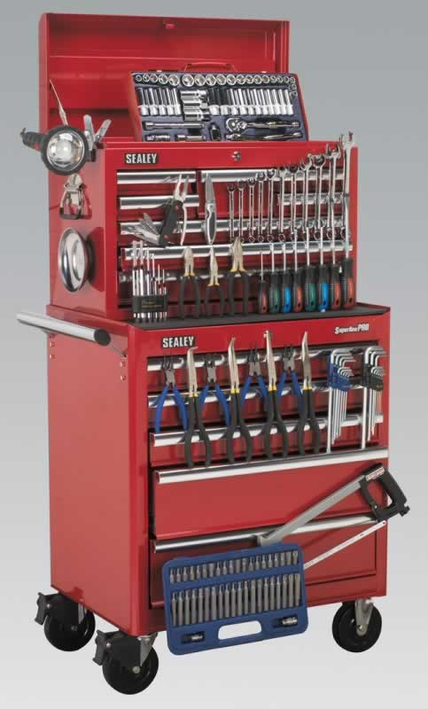 13 Drawer Toolchest Combination - Ball Bearing Runners - Red with FREE Tools