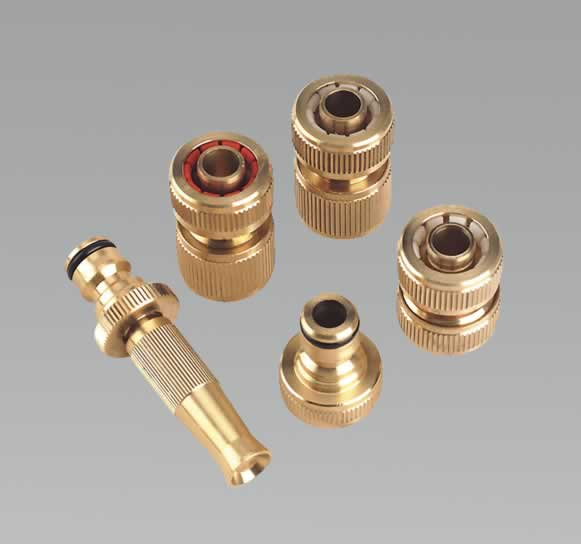 Water Hose Coupling Kit 5pc Brass including Spray/Jet Nozzle
