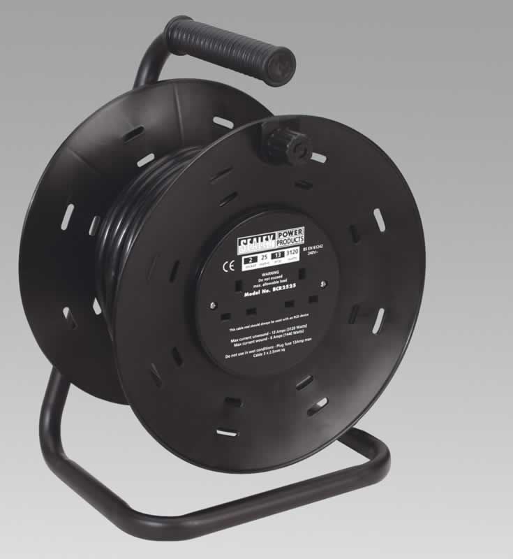 Cable Reel 25mtr 2 x 230V Heavy-Duty