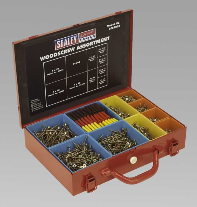 Woodscrew Assortment Gold Series in Case 2000pc