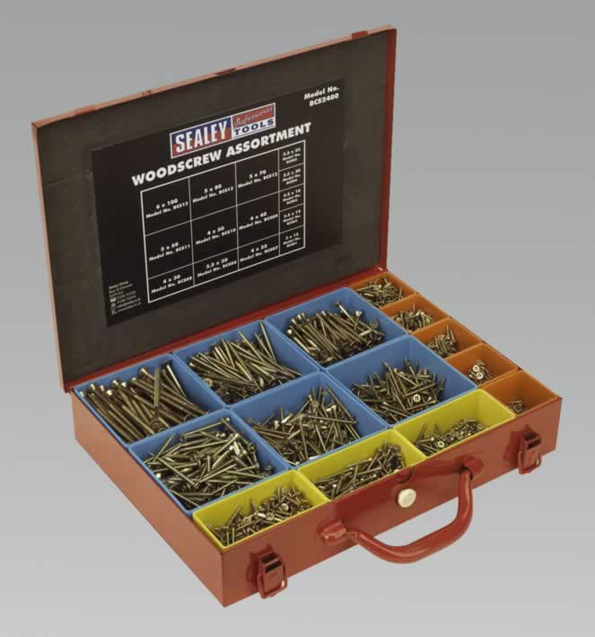 Woodscrew Assortment Gold Series in Case 2400pc