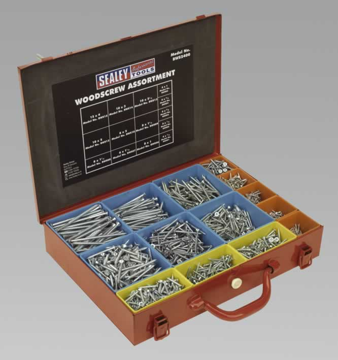 Woodscrew Assortment Silver Series in Case 2400pc