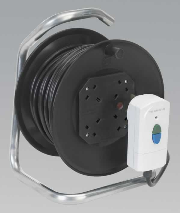 Cable Reel with RCD Plug 25mtr 4 x 230V Thermal Trip