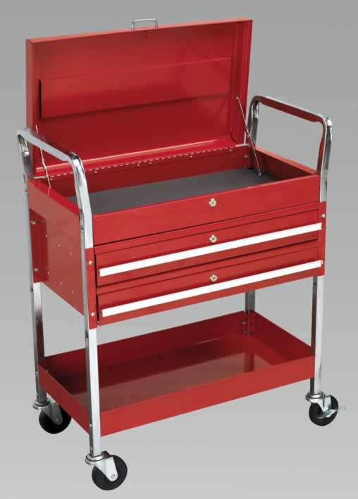 Trolley 2-Level Extra Heavy-Duty with Lockable Top & 2 Drawers