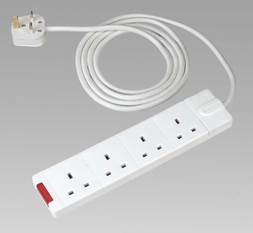 Extension Cable 2mtr 4 x 230V Sockets