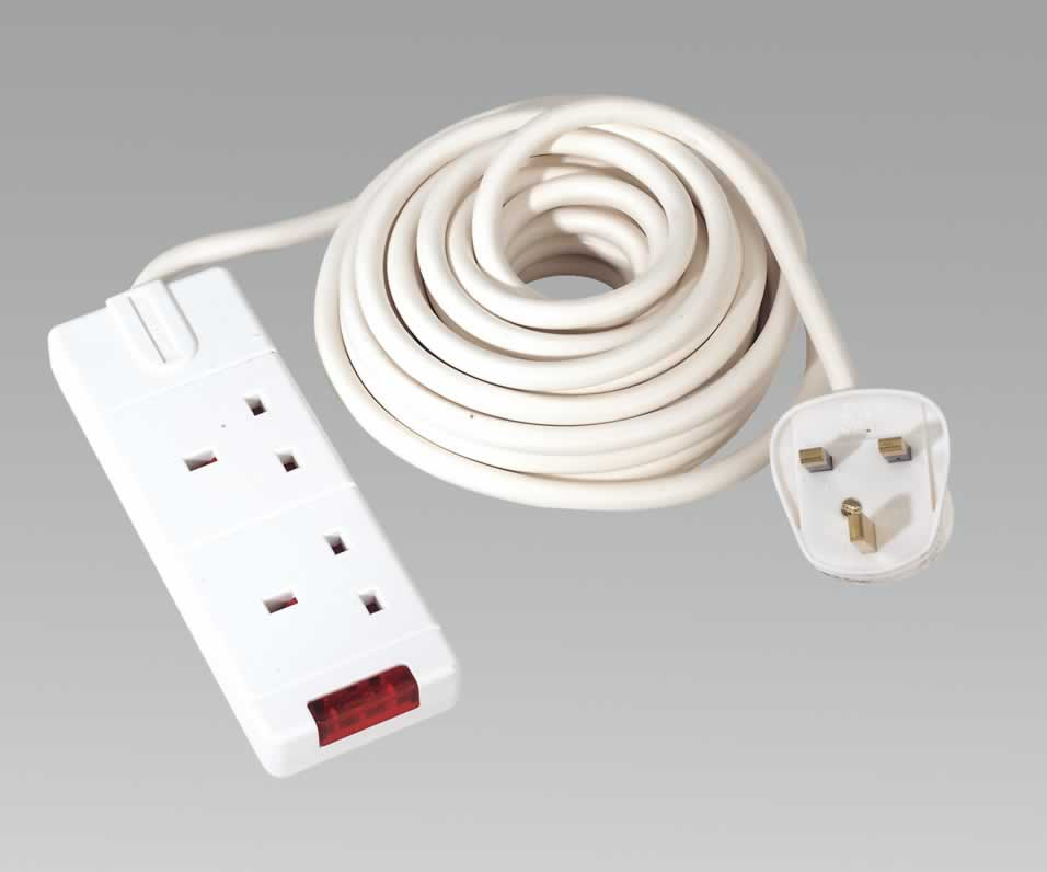 Extension Cable 4mtr 2 x 230V Sockets