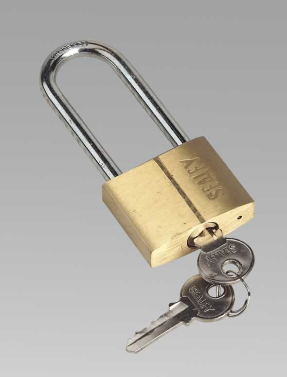 Padlock with Brass Cylinder Long Shackle 40mm